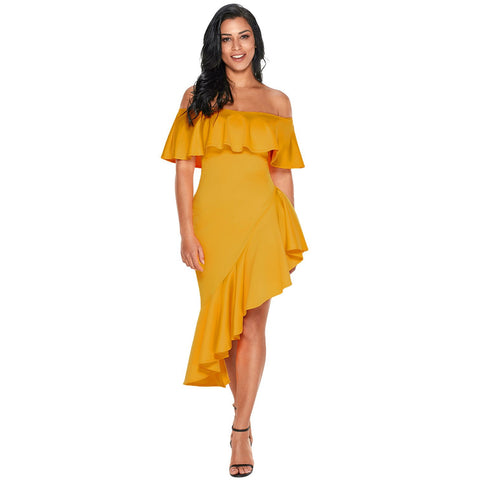 Yellow Asymmetric Ruffle Off Shoulder Party Dress