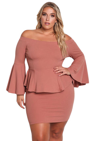 Dusty Pink Off The Shoulder Bell Sleeves Peplum Plus Dress - Desireez