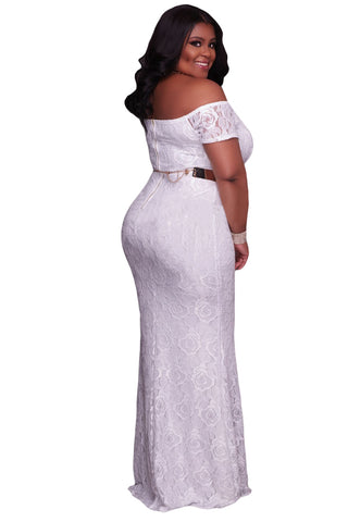 Plus Size Off Shoulder Lace Gown White