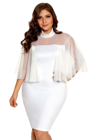 White Plus Size Semi-sheer Dress