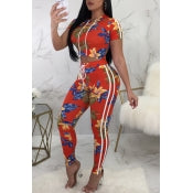 Casual Hooded Collar Floral Printed Orange-Red Polyester Two-Piece Pants Set - Desireez