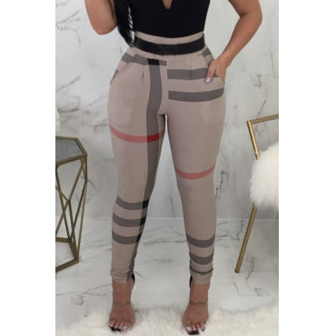 High Elastic Waist Irregular Striped Printed Pants(Without Belt,Batch Print) - Desireez