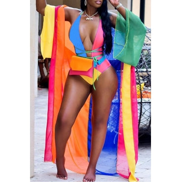 Casual Patchwork Skinny Multicolor One-piece Swimwear(Include Coat and Belt ,Without Bag) - Desireez