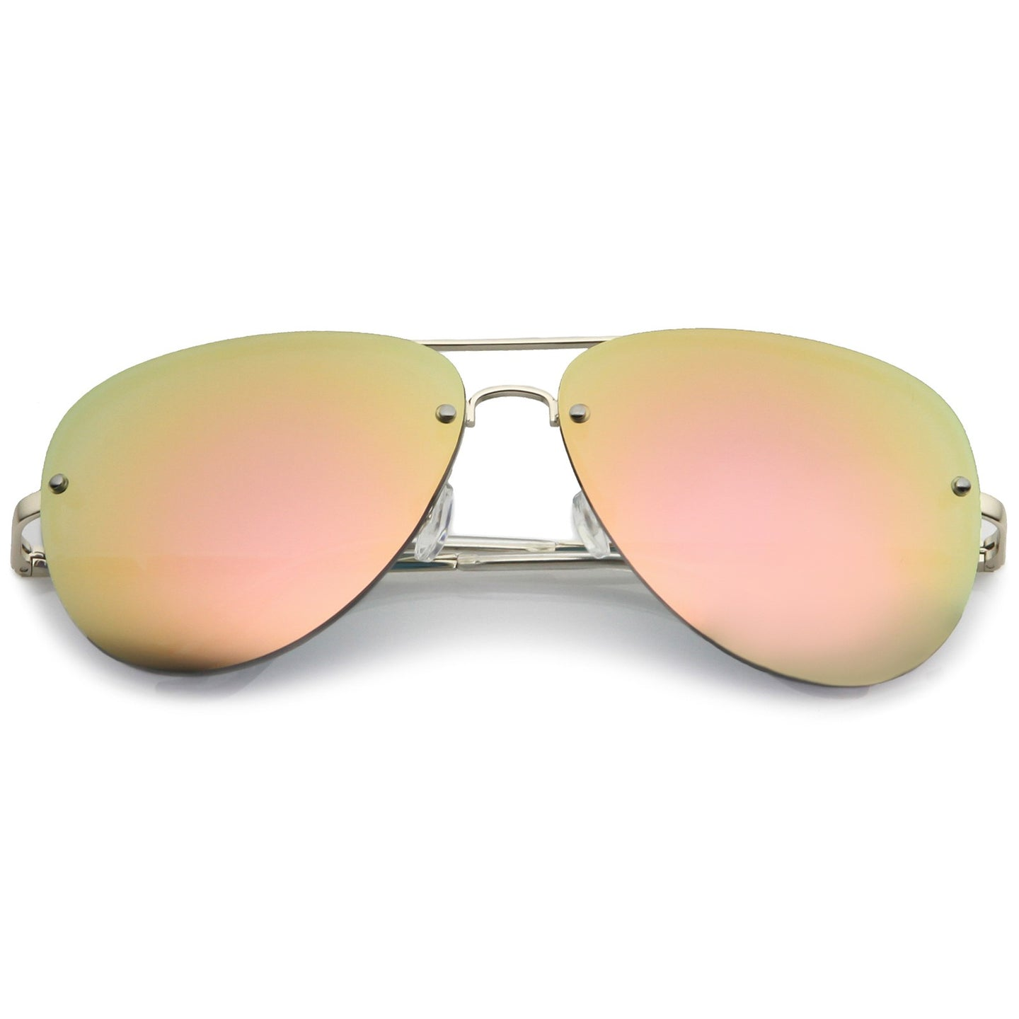Rimless Mirror Aviator Sunglasses