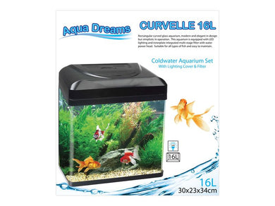 Aqua Dreams Curvelle Coldwater Aquarium Set with Lighting Cover & Filter