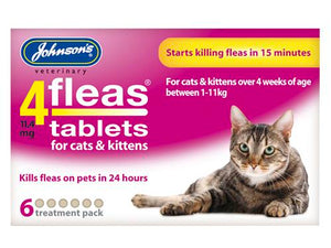Johnsons Vet 4 Flea Cat & Kitten (for 1-11kg) 6 Tablets