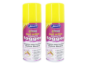 Johnsons Vet 4 Fleas Dual Action Room Fogger Complete Room Treatment Extra Guard 100ml