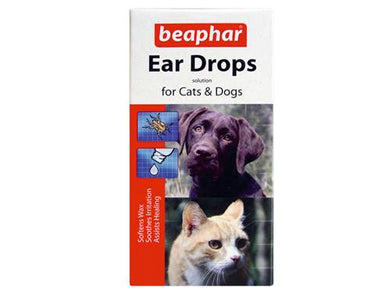 Beaphar Ear Drops Solutions for Cats & Dogs 15ml