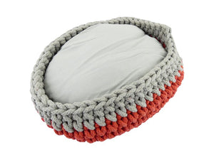 Mega Knitted Cat Basket Grey & Red 30cm