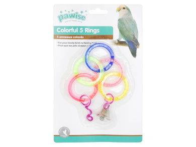 Pawise 5 Colorful Rings Bird Toy & Bell 29cm