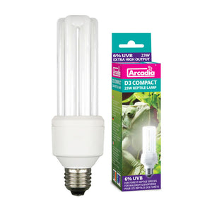AR Compact D3+ Reptile Lamp, 23W 10% - Creepy Critters