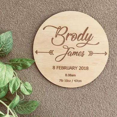 BIRTH ANNOUNCEMENT PLAQUE (BIRTH DETAILS)