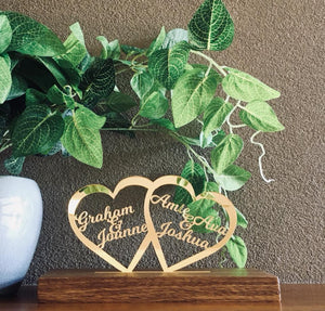 MIRRORED ACRYLIC & TASMANIAN OAK DOUBLE HEARTS PIECE