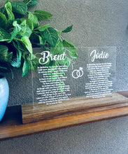 Load image into Gallery viewer, CLEAR ACRYLIC & TASMANIAN OAK WEDDING VOWS PIECE