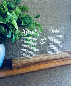 CLEAR ACRYLIC & TASMANIAN OAK WEDDING VOWS PIECE