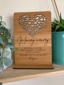 """IN LOVING MEMORY"" ENGRAVED PLAQUE WITH STAND"