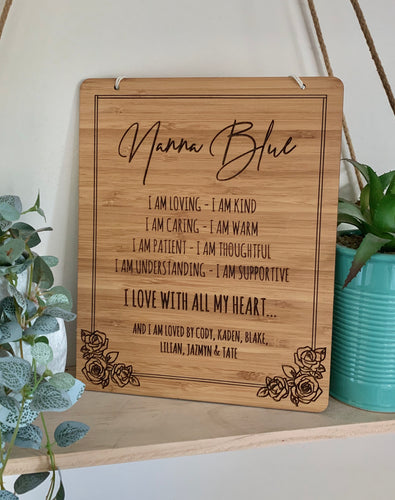 """I LOVE WITH ALL MY HEART"" PLAQUE"