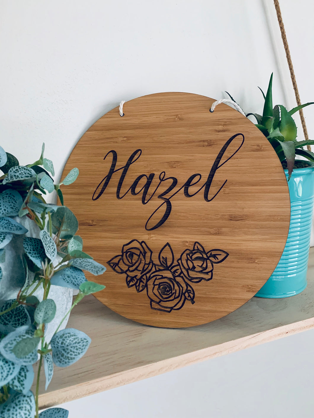 PERSONALISED ROSE NAME PLAQUE