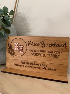 """SOME BUNNY THINKS YOU'RE A WONDERFUL TEACHER"" PLAQUE WITH STAND AND BUNNY STUDS"