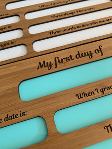 "DOUBLE SIDED ""FIRST & LAST DAY"" BOARD"