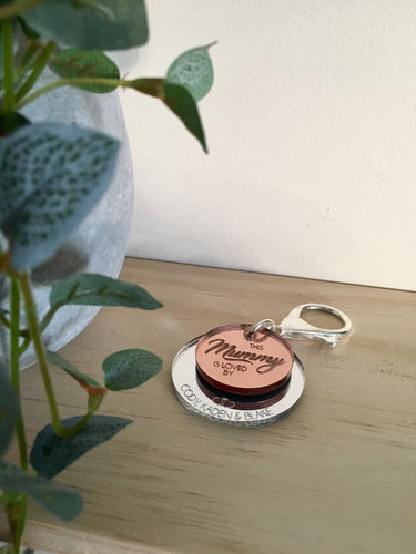 "DOUBLE LAYER ""LOVED BY"" KEYRING"