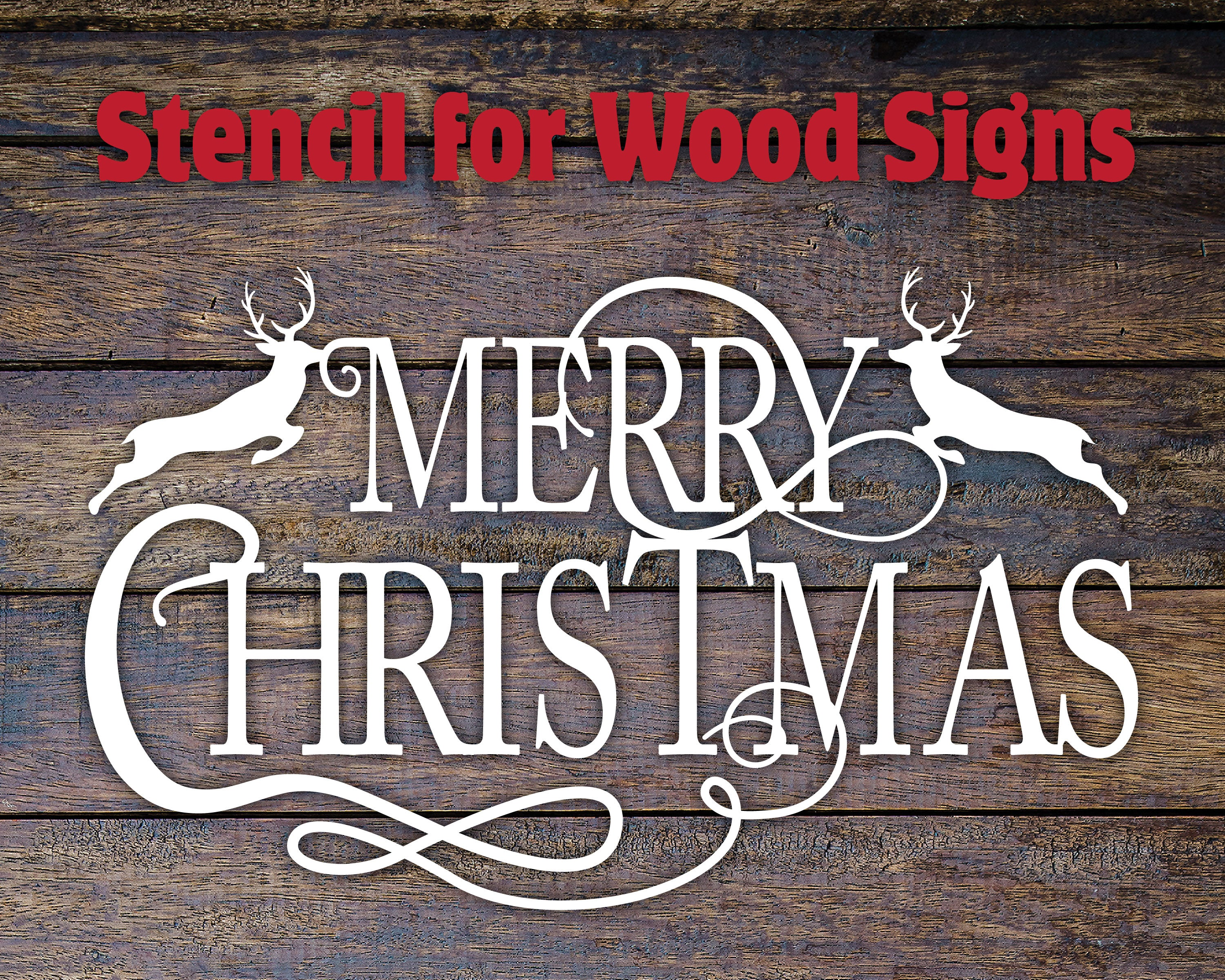 Merry Christmas Stencil for Wood Sign Painting - One Time Use!