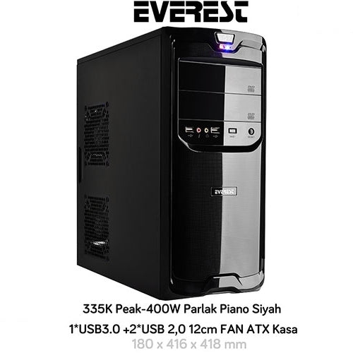 Everest 335K Peak-400W Mid Tower Siyah Kasa