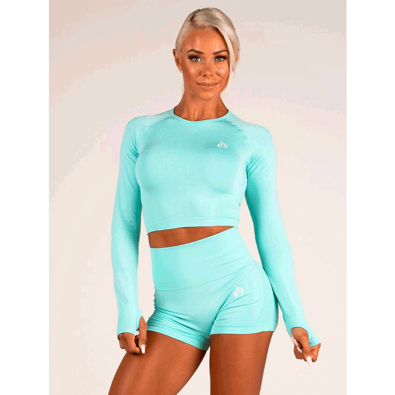Seamless Long Sleeve Crop - Aqua Marl by Ryderwear