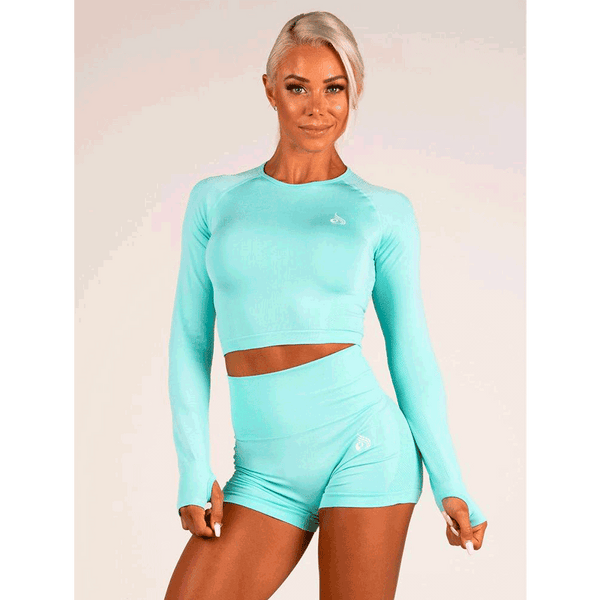 Seamless Long Sleeve Crop - Aqua Marl