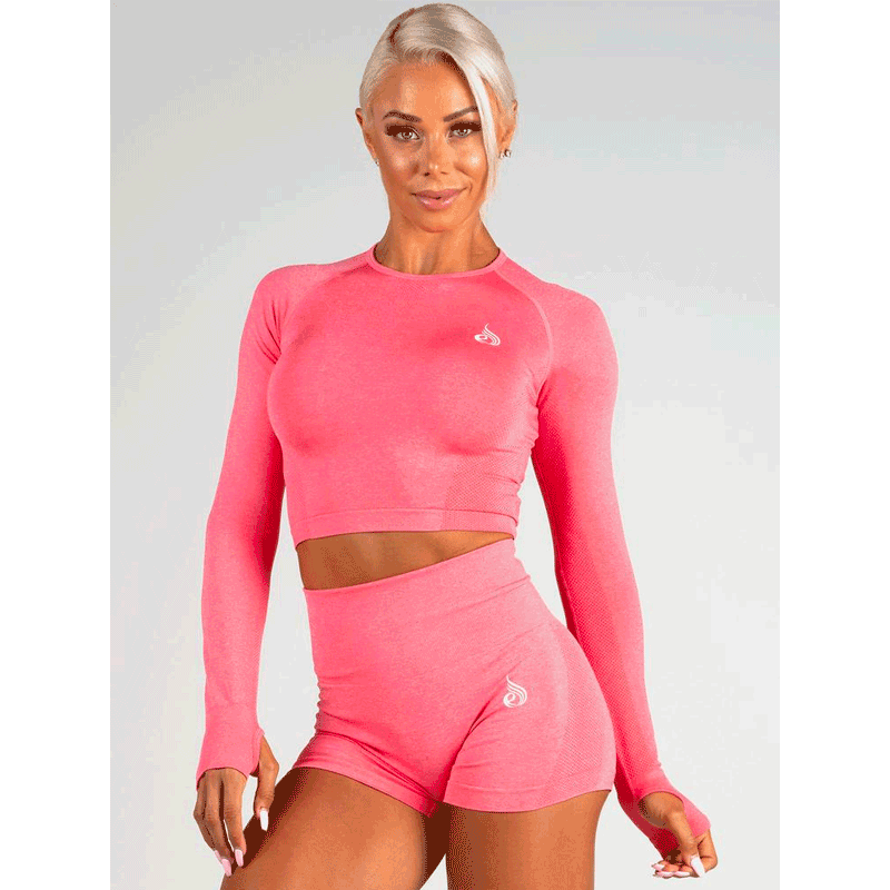 Seamless Long Sleeve Crop - Coral Marl by Ryderwear