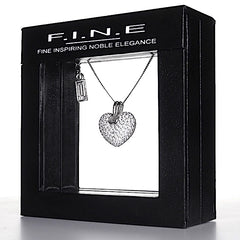 sterling 925 silver heart necklace, cubic zirconia love
