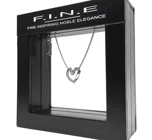 Fine Global Pendant Diamond Heart Pendant Necklace, F.I.N.E LOVE 4897069900015 sterling 925 silver jewellery