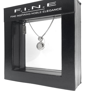 Fine Global Pendant 925 Sterling Silver Pendant with Cubic Zirconia – Double Circle Shape, F.I.N.E Unity 4897069900930 sterling 925 silver jewellery