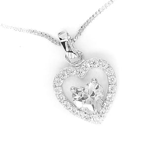 Fine Global Pendant 925 Sterling Silver Heart-Shaped Pendant with Cubic Zirconia for girls and women, F.I.N.E Love 4897069901005 sterling 925 silver jewellery