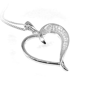 Fine Global Pendant 925 Sterling Silver Heart Shape  Pendant With Cubic Zirconia for Her, F.I.N.E Love 4897069900572 sterling 925 silver jewellery