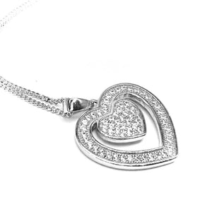 Fine Global Pendant 925 Sterling Silver Silver Pendant With Cubic Zirconia- Double Heart Shape, F.I.N.E Love 4897069900589 sterling 925 silver jewellery