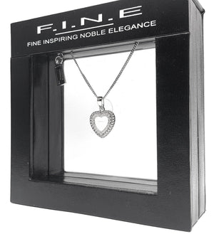 Fine Global Pendant Heart Shape 925 Sterling Silver Pendant with Cubic Zirconia for Timeless Beauty, F.I.N.E Love 4897069900886 sterling 925 silver jewellery