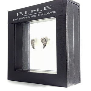 Fine Global Earrings Angel Wing Earrings with Cubic Zirconia, F.I.N.E INSPIRE 4897069901456 sterling 925 silver jewellery