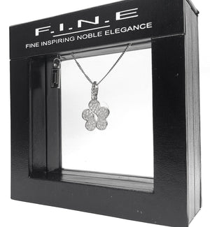 Noble Elegance Holding Ltd Pendant 925 Sterling Silver Pendant With Cubic Zirconia – Flower Shape, F.I.N.E Care 4897069900688 sterling 925 silver jewellery