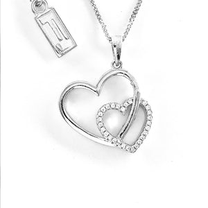 Fine Global Pendant 925 Sterling Silver Pendant With Cubic Zirconia - Double Heart Shape, F.I.N.E, Love 4897069901692 sterling 925 silver jewellery
