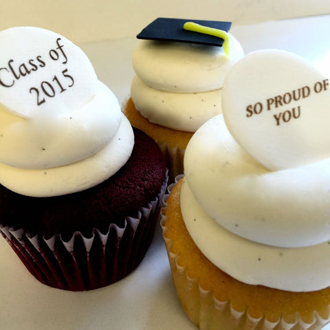 Sweet Graduate Cupcakes - Harvard Colors