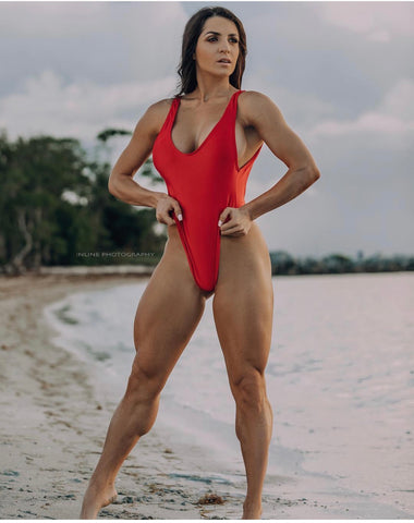 Red High Cut One Piece