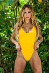 Yellow Ribbed High Cut One Piece