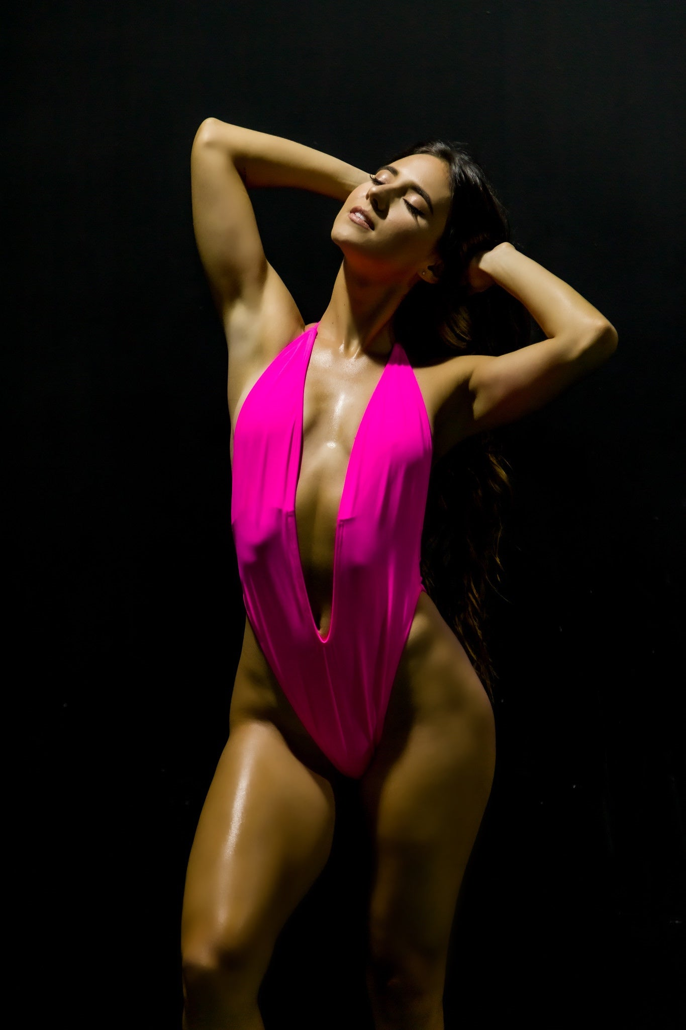Hot Pink Halter One Piece