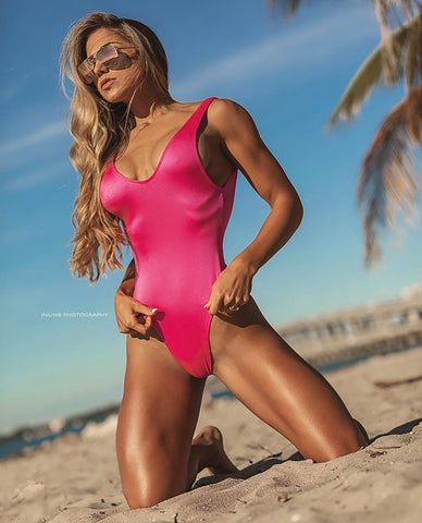 Hot Pink High Cut One Piece