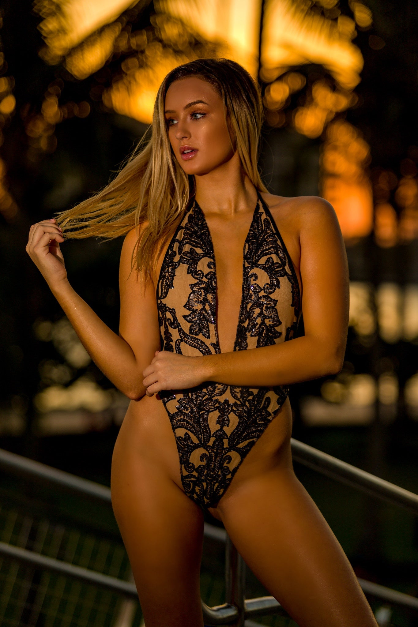 Black Lace Sequin One Piece