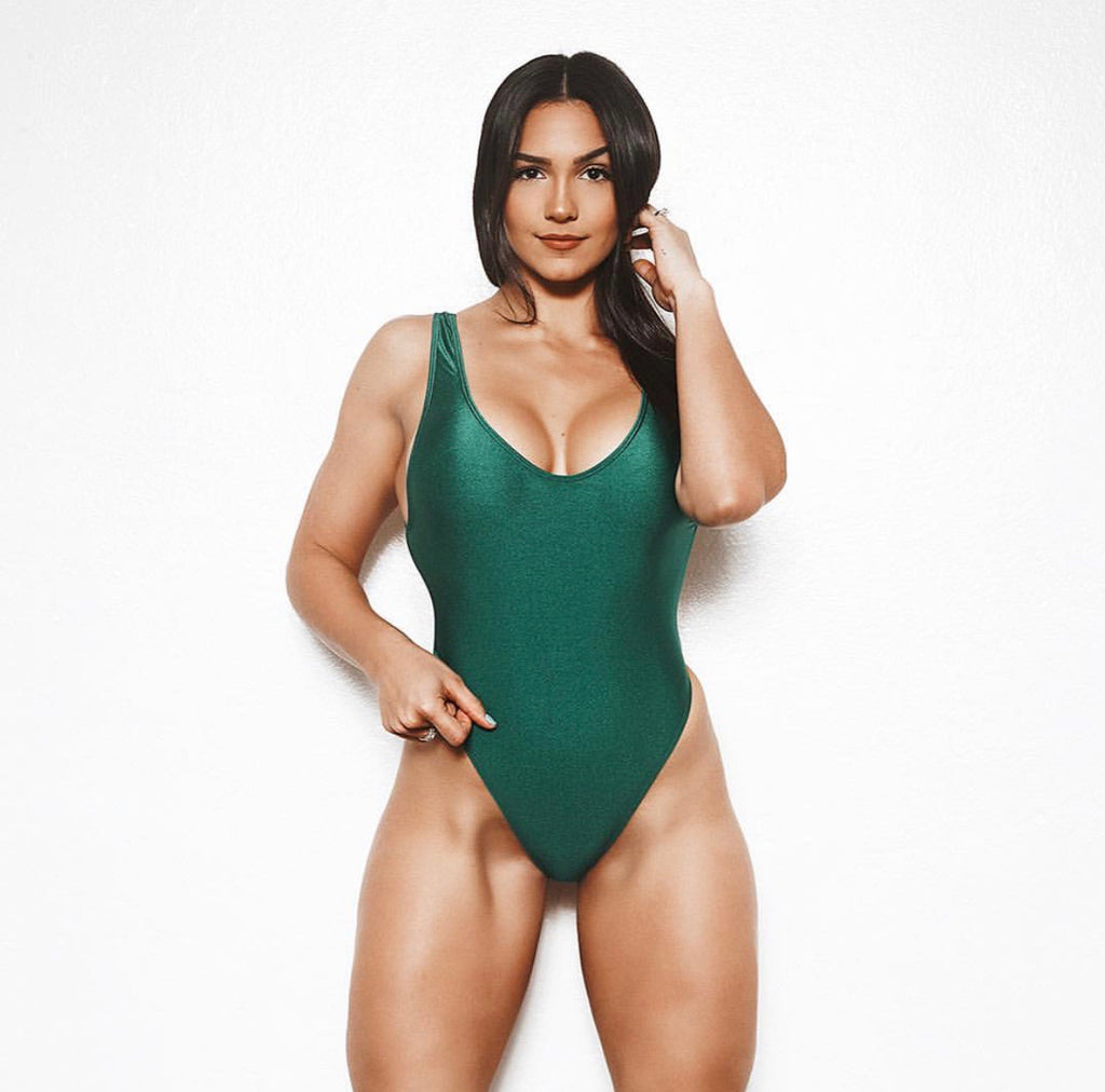 Green High Cut One Piece