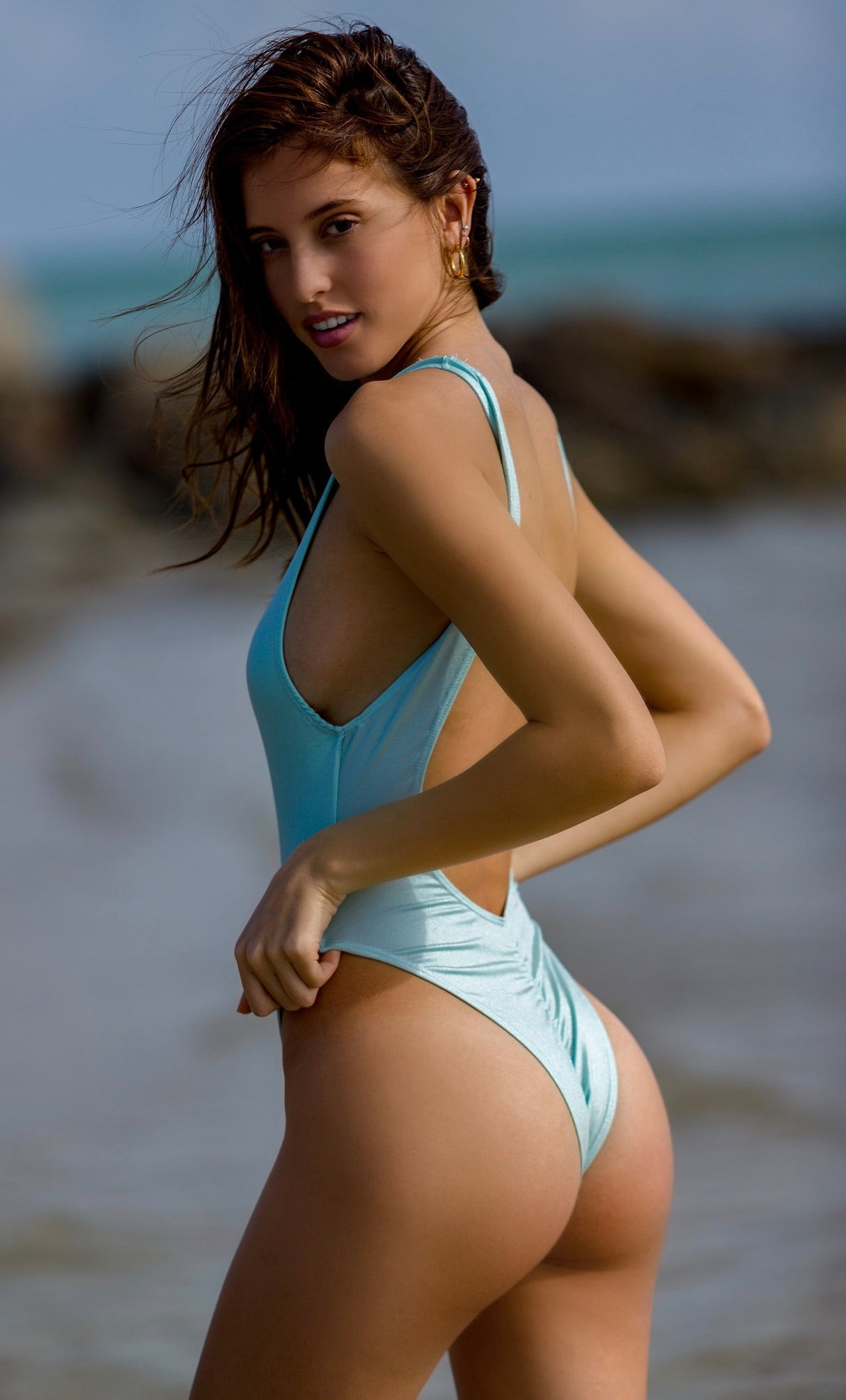 Sky Blue High Cut One Piece