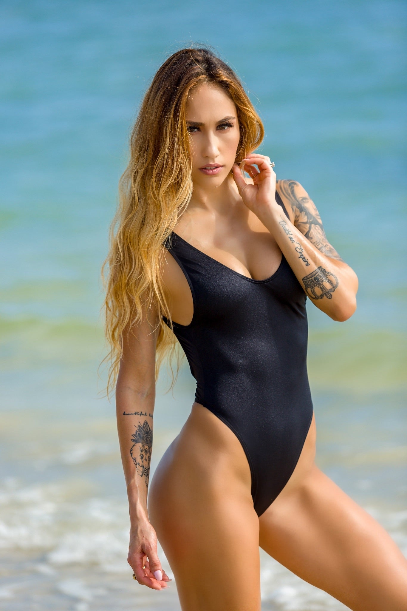 Black High Cut One Piece