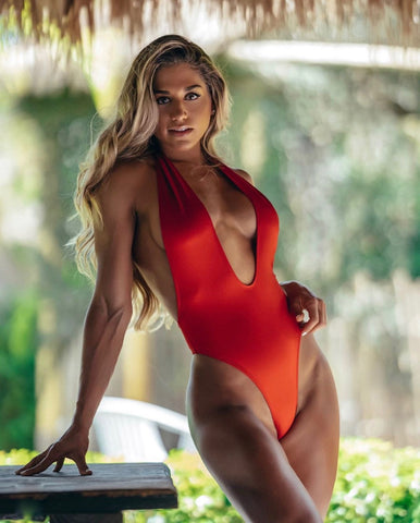Red Halter One Piece